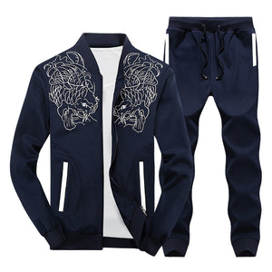 MENS AUTUMN HOODED EMBROIDERED PATTERN RUNNING SUIT