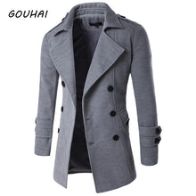 Load image into Gallery viewer, GOUHAI Double-Breasted Solid Pattern Peacoat