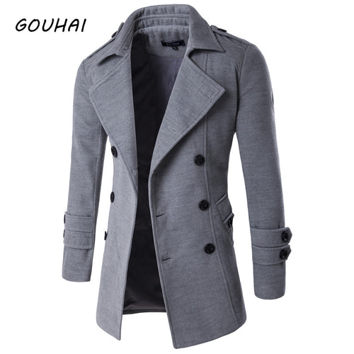 GOUHAI Double-Breasted Solid Pattern Peacoat