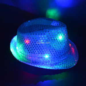 Sequined LED Lighted Flashing Party Fedora