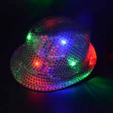 Load image into Gallery viewer, Sequined LED Lighted Flashing Party Fedora