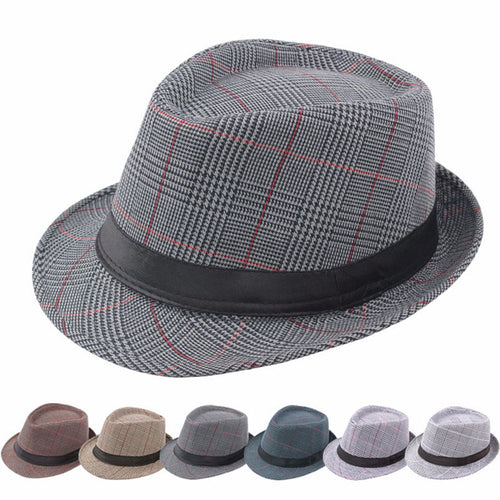 English Style Plaid All Season Classic Fedora