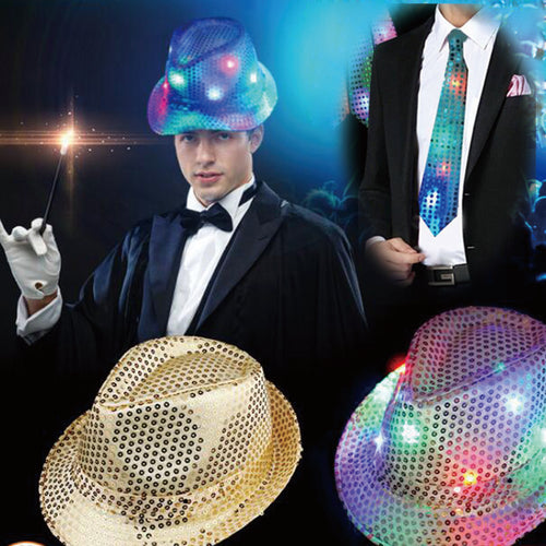 Hot New Sequin LED Flashing Fedora and Neck Tie Set
