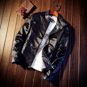 Casual Faux Leather And Suede Business Jacket*
