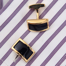 Load image into Gallery viewer, Black & Gold Square Gem Cufflinks