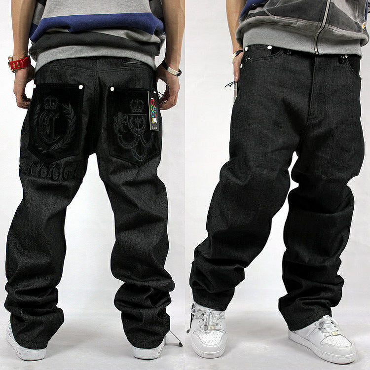 Loose Zipper Fly Hip-Hop Straight Leg Jeans