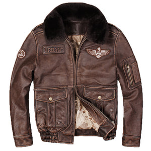 Men's Vintage Pilot Genuine Leather Jacket- Brown  w/Wool Collar- Real Thick Cowhide