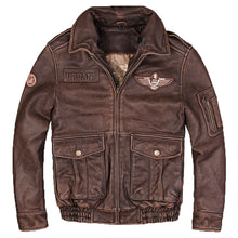 Load image into Gallery viewer, Men's Vintage Pilot Genuine Leather Jacket- Brown  w/Wool Collar- Real Thick Cowhide