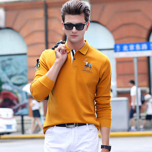 Long Sleeve Breathable Embroidered Polo Style Shirt