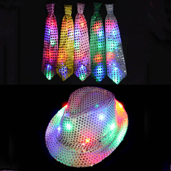 New Sequin LED Flashing Fedora and Tie Set