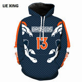 3D Hooded Broncos Print Long Sleeve Pullover