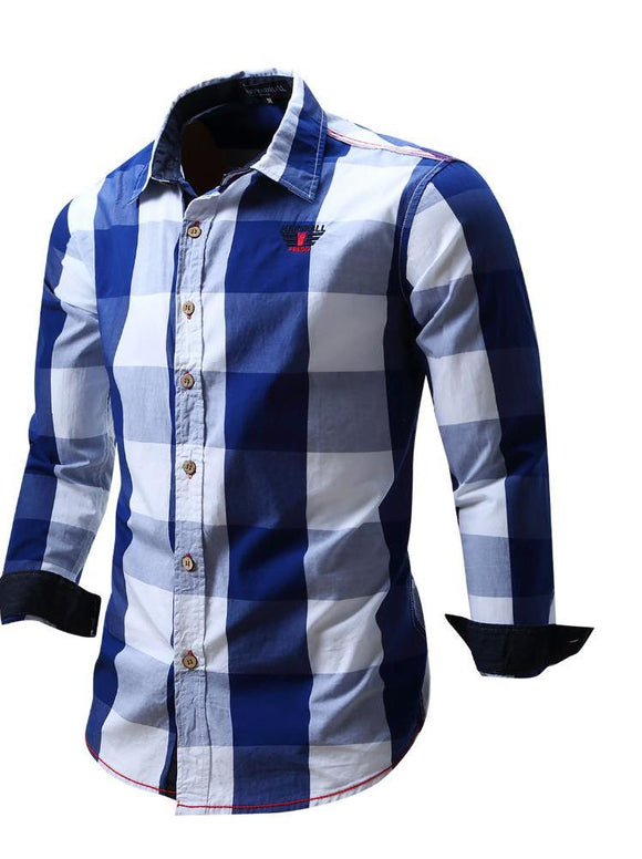 Mens Plaid Long Sleeve Casual Business Shirt