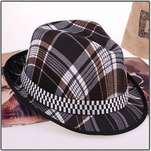 Load image into Gallery viewer, New Autumn Lattice Top Retro Print Fedora