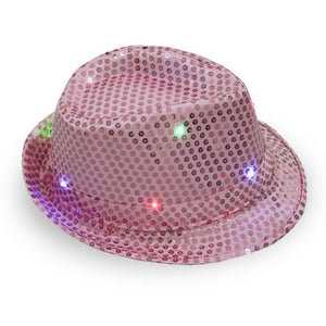 Colorful LED Flashing Dance and Party Sequined Fedora (Adults/Kids)