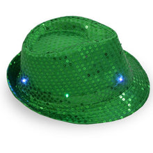 Load image into Gallery viewer, Colorful LED Flashing Dance and Party Sequined Fedora (Adults/Kids)