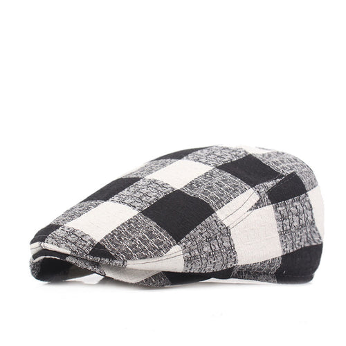 Vintage Large Plaid Pattern Adjustable Cotton Wild Beret* (55cm-58cm)