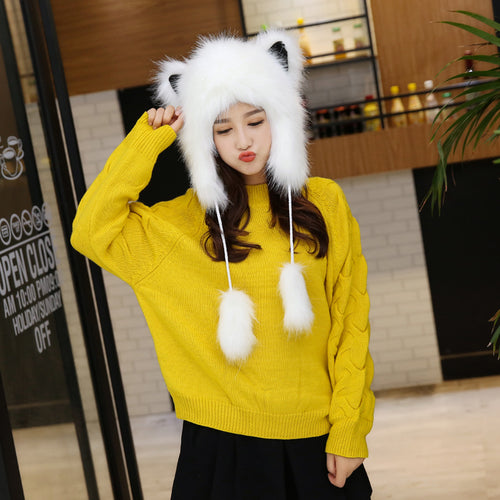 Cute Plush Faux Fur Animal Ear Ski Cap