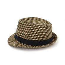 Load image into Gallery viewer, New Straw Plaid Panama Fedora with Black Satin Band