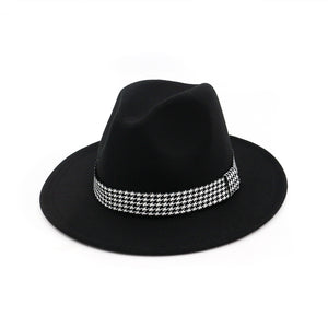 Vintage Seasonal Houndstooth Braided Band Wide Brim Fedora*