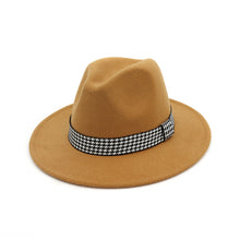Load image into Gallery viewer, Vintage Seasonal Houndstooth Braided Band Wide Brim Fedora*