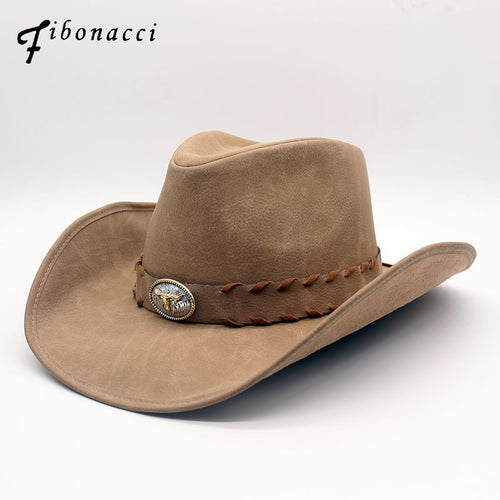 FIBONACCI Wide Brim Leather Cowboy Hat w/ Leather & metal Band* (57-59cm)
