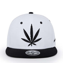 Load image into Gallery viewer, Embroidered Hemp Leaf Hip-Hop Style Snapback Hat