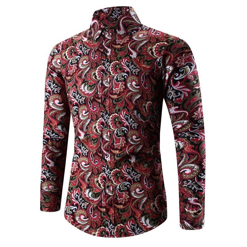 c5cf3732 ... Load image into Gallery viewer, 2018 Retro Floral Printed Man Casual  Shirts Fashion Classic Men