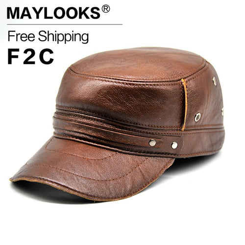 Genuine Leather CBD High Quality Solid Military Hat