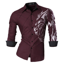 Load image into Gallery viewer, Mens Casual Slim Fit Embroidered Print Shirts