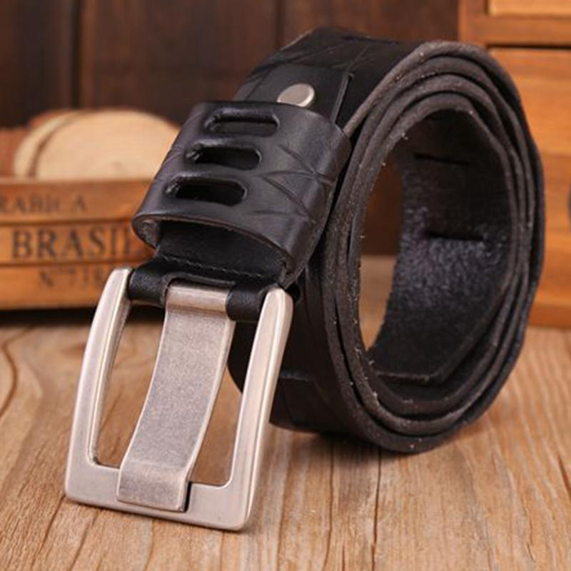 PIBAINEED Thick Genuine Cowskin Leather Belt with Pin Buckle*