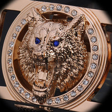 Load image into Gallery viewer, PIBAINEED High Quality Thick Leather Belt with Crystal Wolf Head Buckle*
