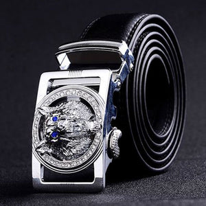 PIBAINEED High Quality Thick Leather Belt with Crystal Wolf Head Buckle*