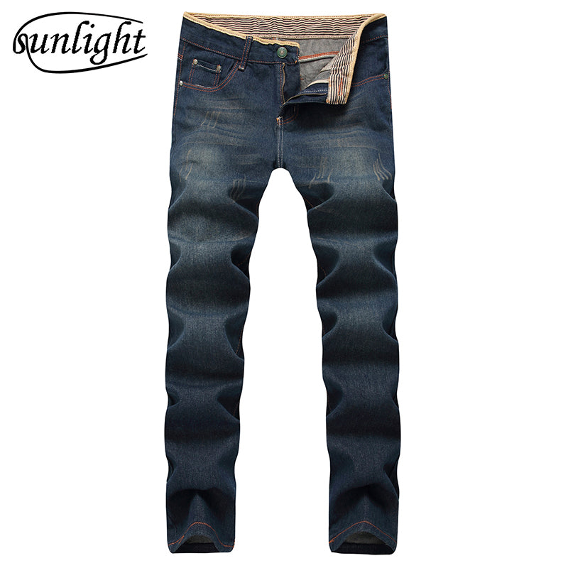 Retro Straight Leg Distressed Denim Jeans