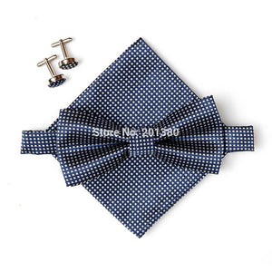 Mens PLaid 3-Piece Bow Tie Set