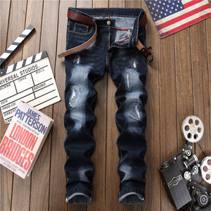 Mens Denim Distressed Hole Straight Leg Jeans