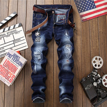 Load image into Gallery viewer, Mens Denim Distressed Hole Straight Leg Jeans