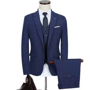 Mens Vintage Slim Fit Solid Color Business Suit