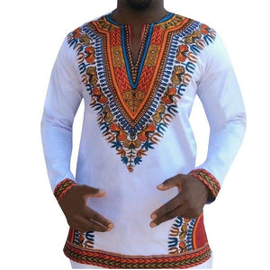 Mens African Print Dashiki Traditional Shirt