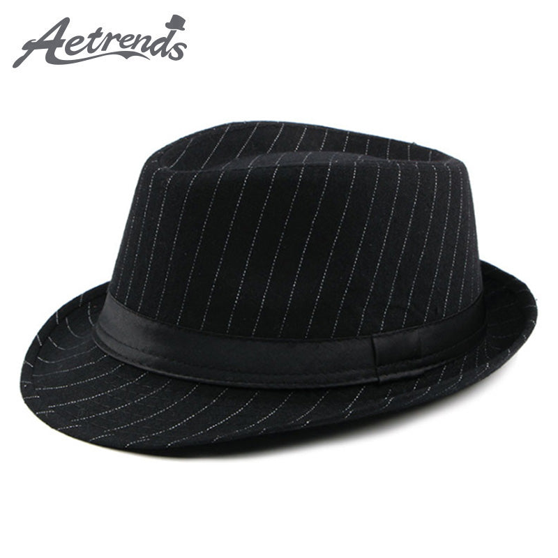 094dbf8667d79 AETRENDS British Style Striped Fedora HUB TITAN