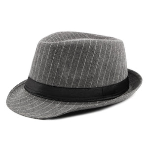 AETRENDS British Style Striped Fedora