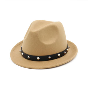 Vintage Winter Wool Wide Brim Fedora with Spiked Band*