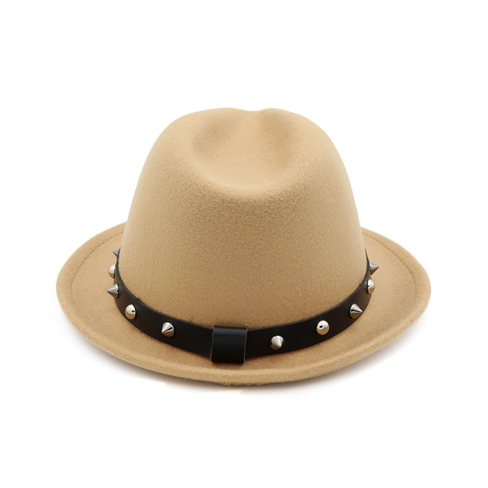 d05fd525 ... Load image into Gallery viewer, Vintage Winter Wool Wide Brim Fedora  with Spiked Band* ...