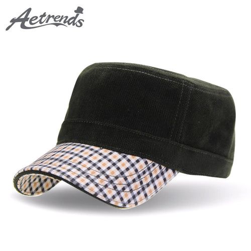 AETRENDS Vintage Winter Retro Design Flat Military Hat