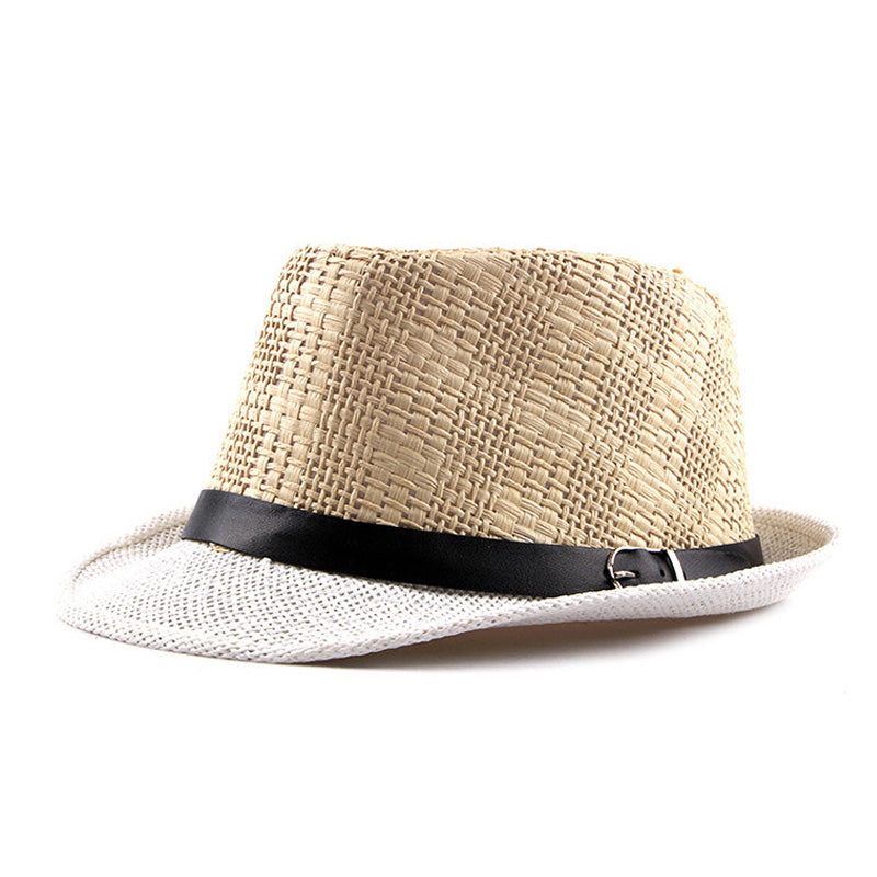 AETRENDS Summer Plaid Beach Fedora with Leather Buckle Strap