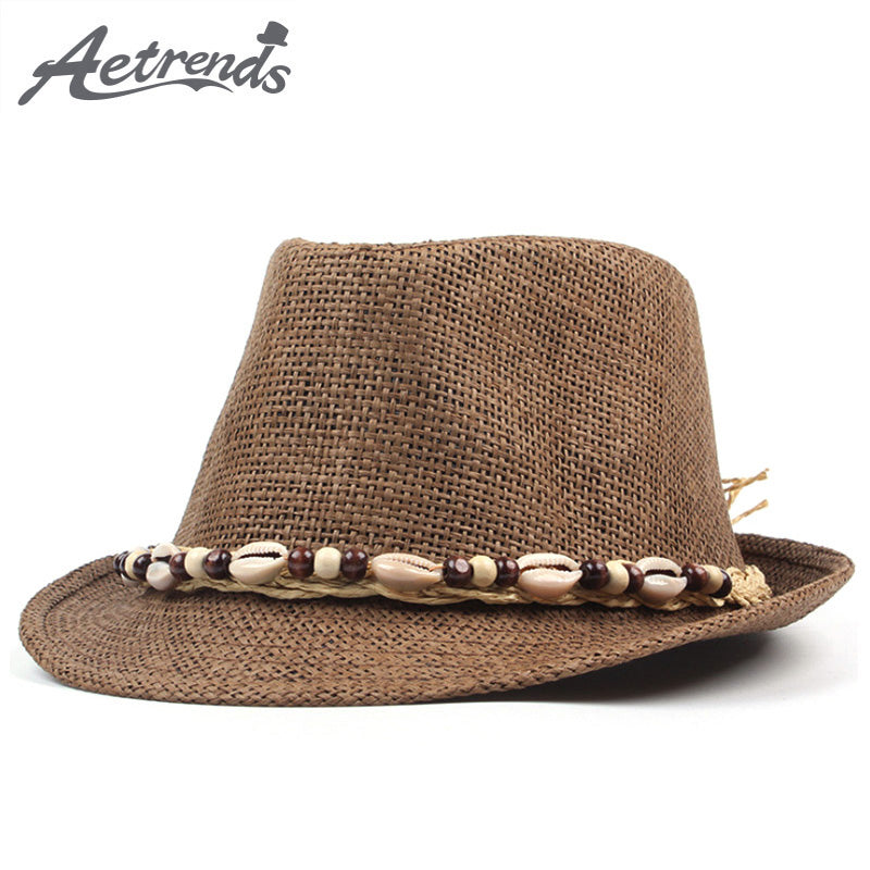 dce8e1e62a8f0 ... AETRENDS New Summer Straw Classic Panama Fedora with Pooka Shell Band