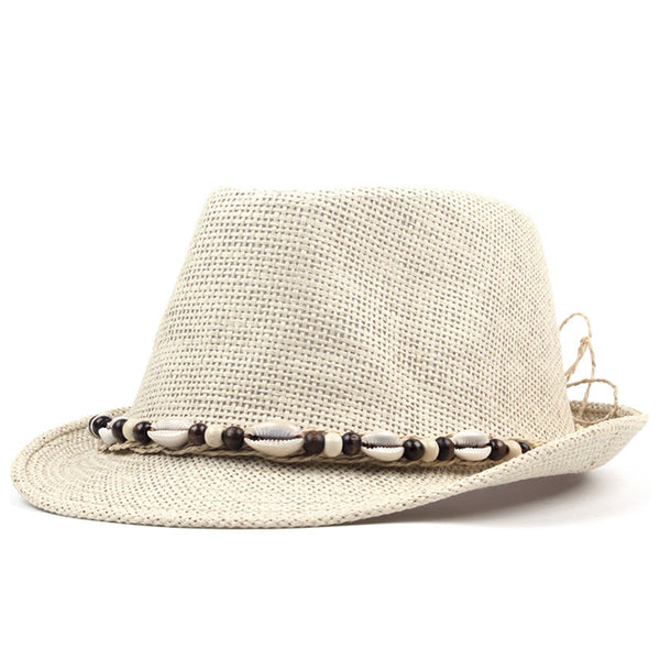 7bc53b4405953 AETRENDS New Summer Straw Classic Panama Fedora with Pooka Shell Band. HUB  TITAN.  38.99. beige