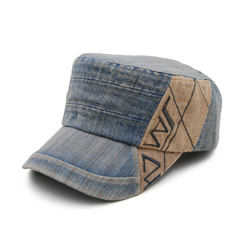 AETRENDS Vintage Denim Retro Design Military Flat Cap