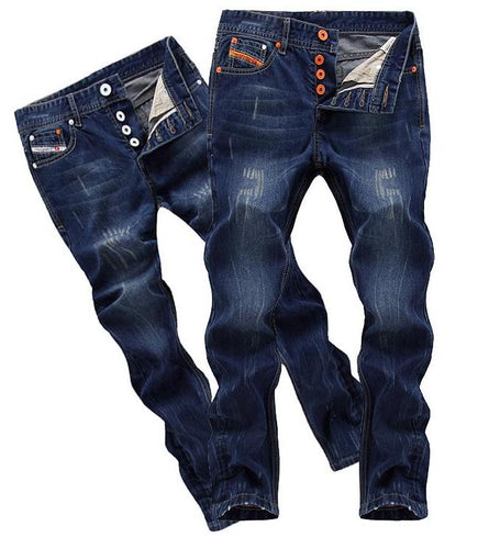 Mens Dark Cotton Ripped Button Fly Jeans