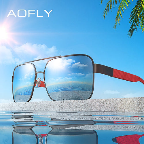 9eba06b87 AOFLY Square Metal Frame UV400 Driving Sunglasses Model AF8181