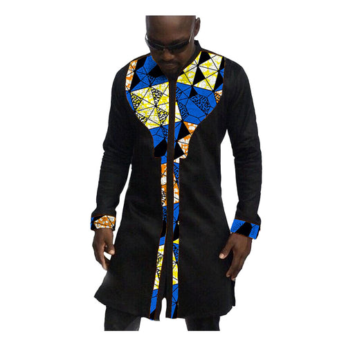 Mens African Long Patchwork Ankara Style Dashiki Shirt*